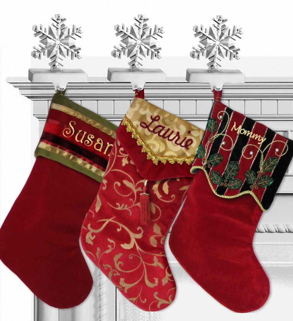 e63ff80bdab63 Velvet Tassel Gold Burgundy Personalized Christmas Stockings ...