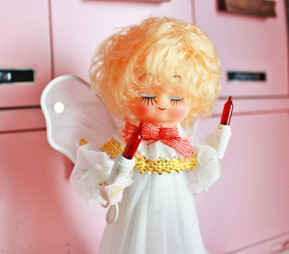 Vintage Rubber Face Angel Lighted Tree Topper by kitschparade, $800