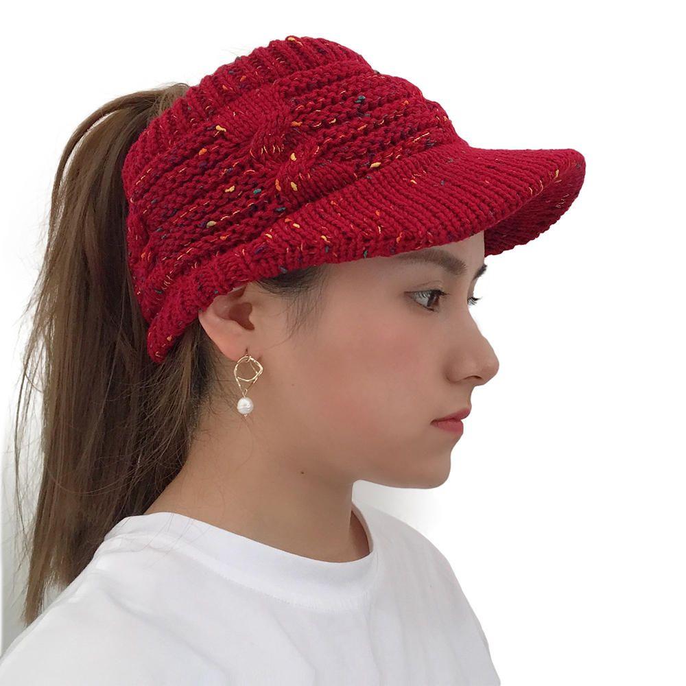 a093634b1a7ae Women Winter Flexible Ponytail Knit Beanie Caps - Banggood Mobile ...