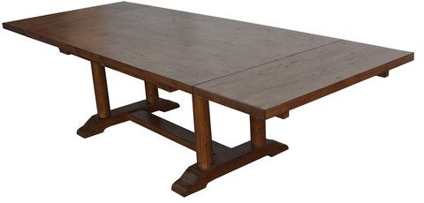 Cambria Rustic Extension Trestle Dining Table Built In Reclaimed Wood Mortise Tenon