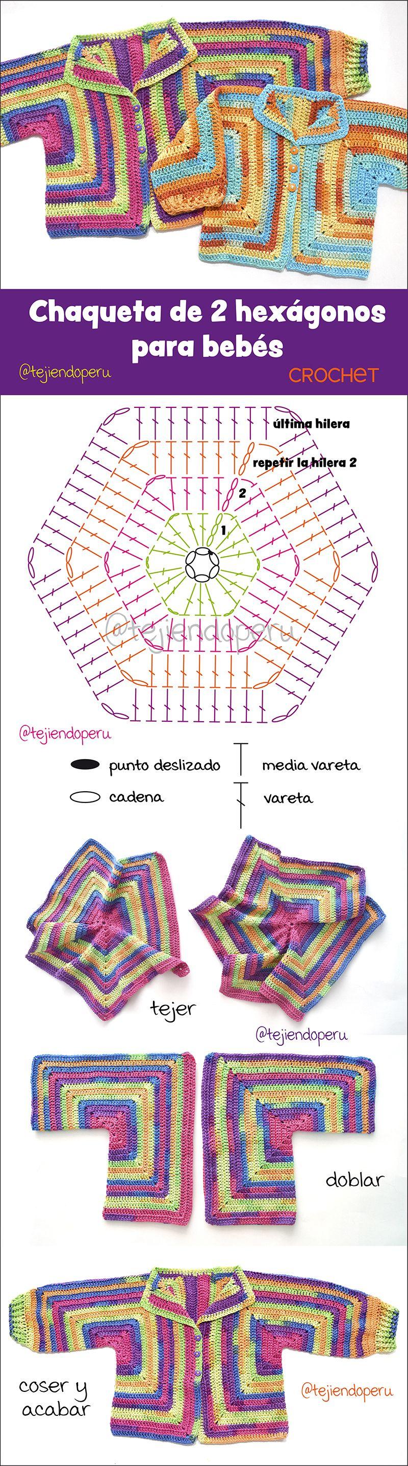 Chaqueta para bebés hecha con dos hexágonos tejidos a crochet (2 ...