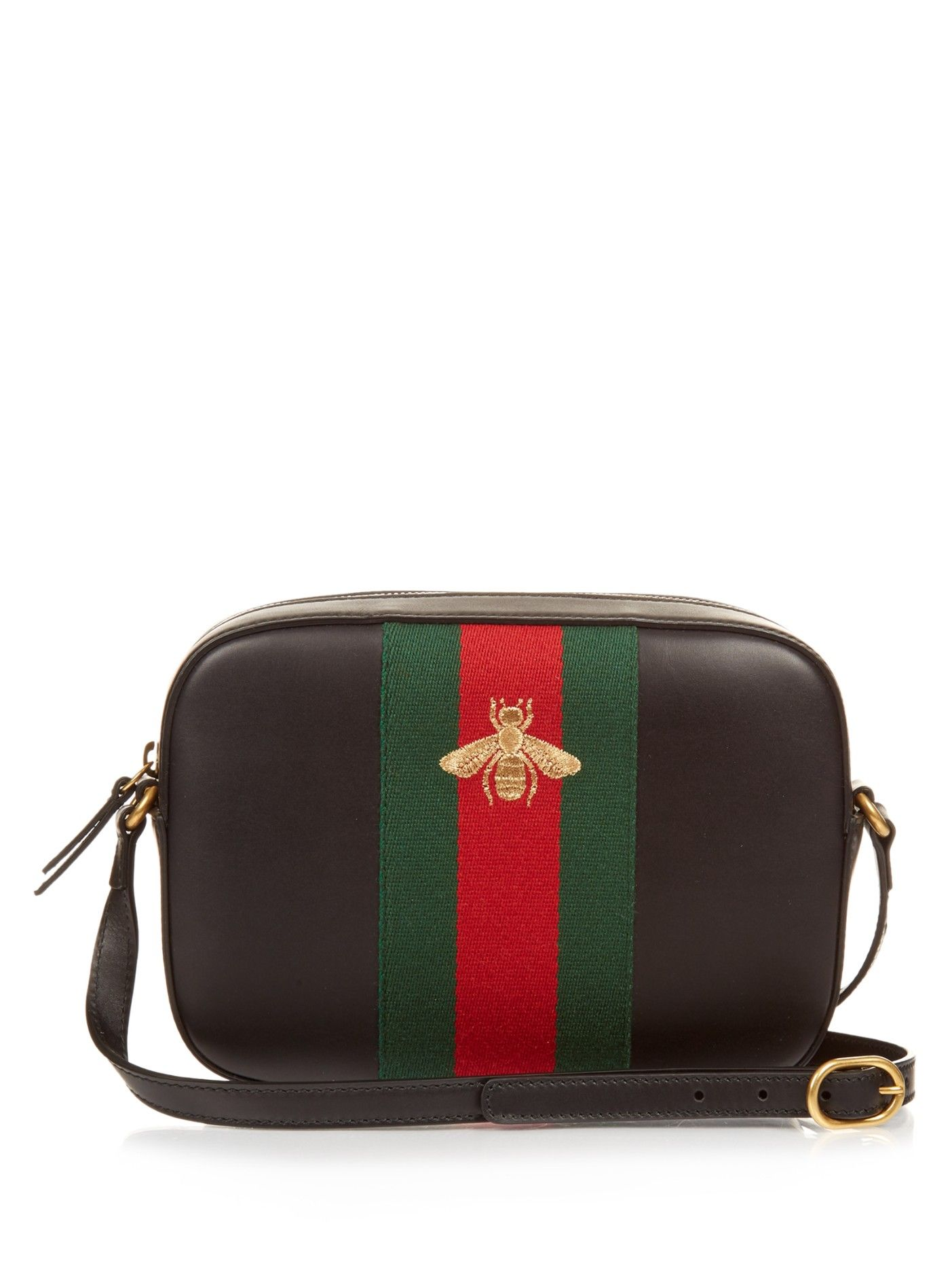 d1f415a5b34 Line bee-embroidered leather cross-body bag