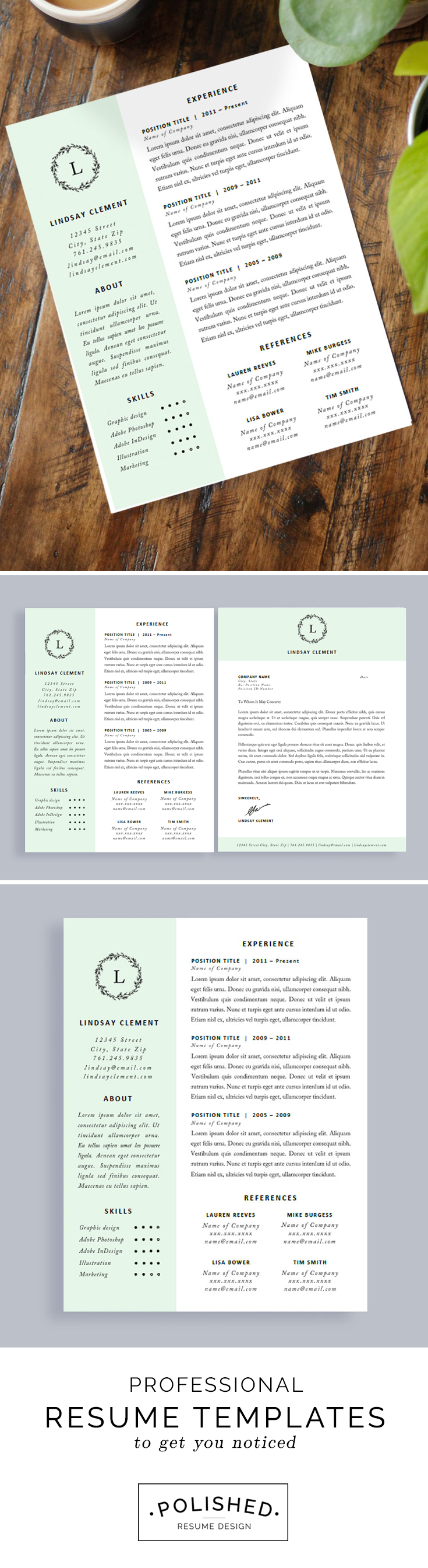 professional resume template and cover letter for word and pages
