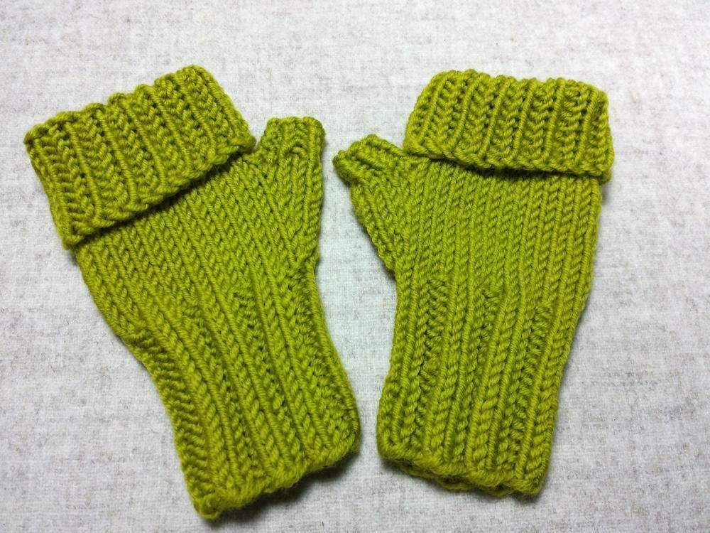 Baby Armstulpen, fingerlose Handschuhe, gelbgrün, Klappbund ...