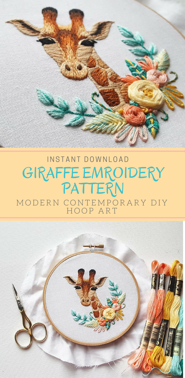 This contemporary Giraffe hand embroidery pattern is so cute! It ...