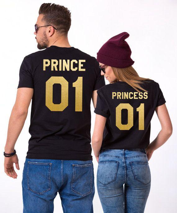 Prince Princess 01 Camiseta De Pareja Camisas De Princesa Etsy Couple Shirts Matching Couple Shirts Couple T Shirt