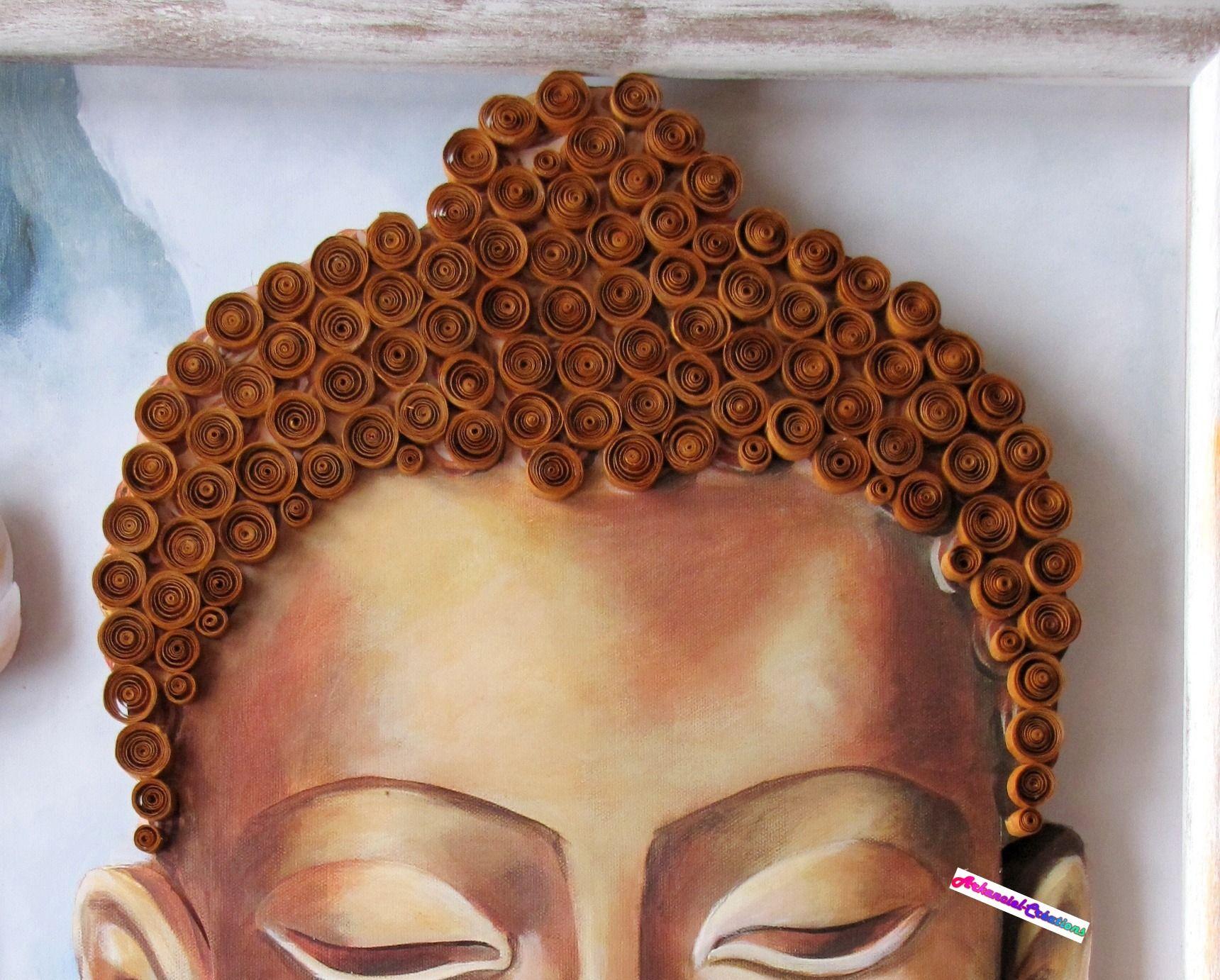 Détails du Bouddha : la chevelure est en papier selon la ...