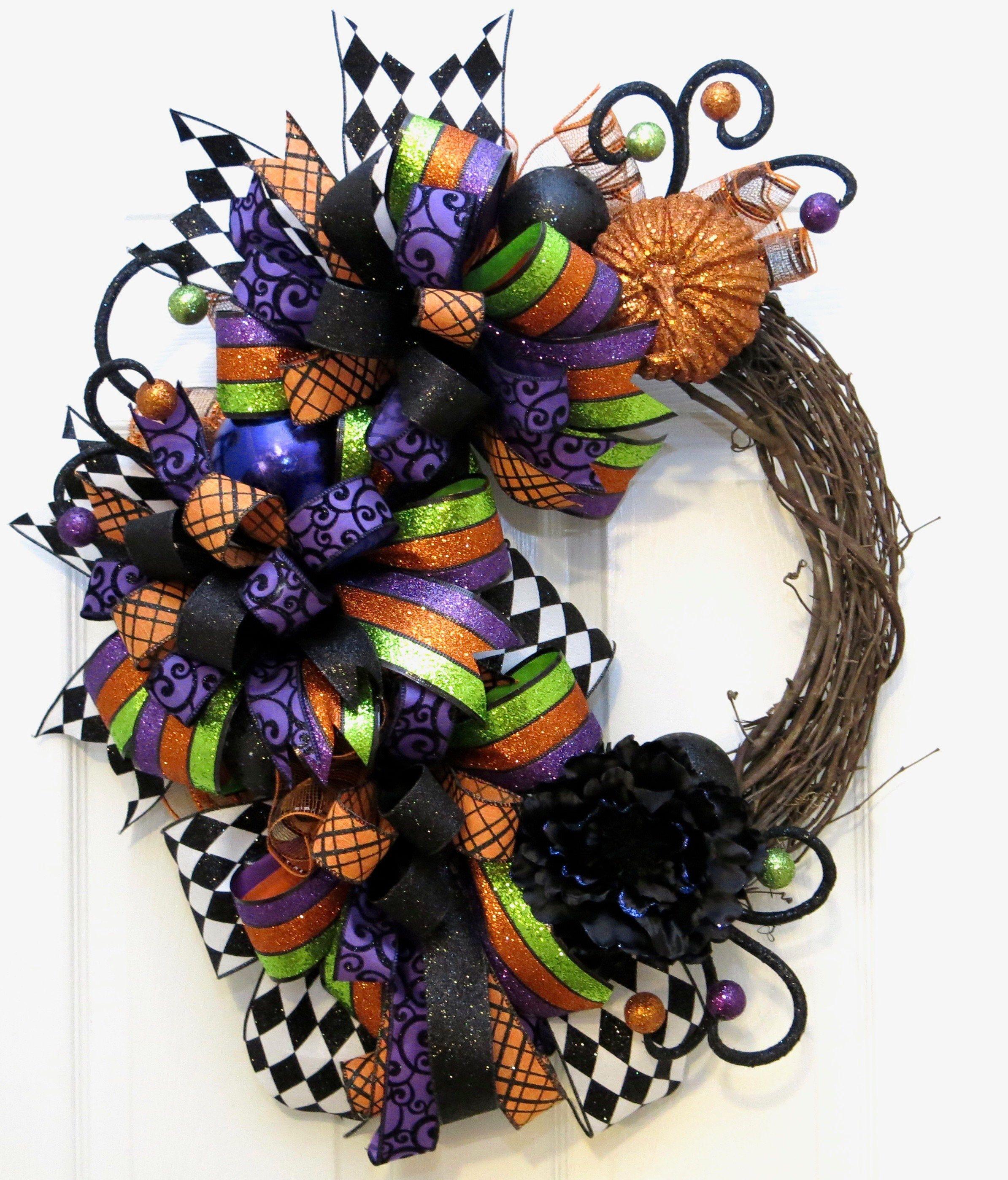 Photo of Halloween wreath, Halloween decoration, Halloween wreaths for the front door, autumn wreath, front door wreath, funky bow Halloween wreath, decor