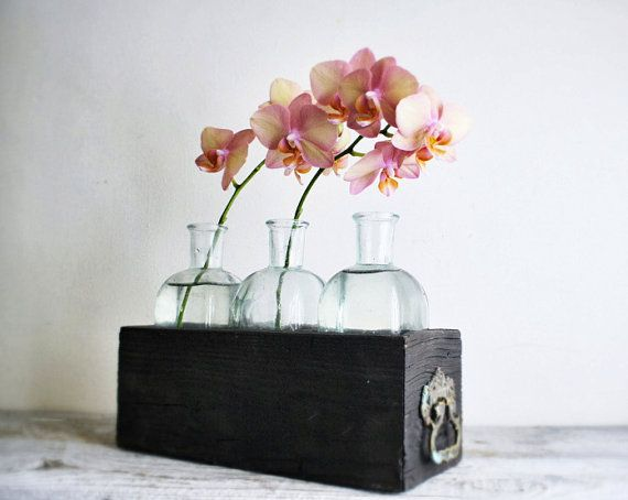Wooden Bottle Display Crate Candle Holders by shavingkitsuppplies