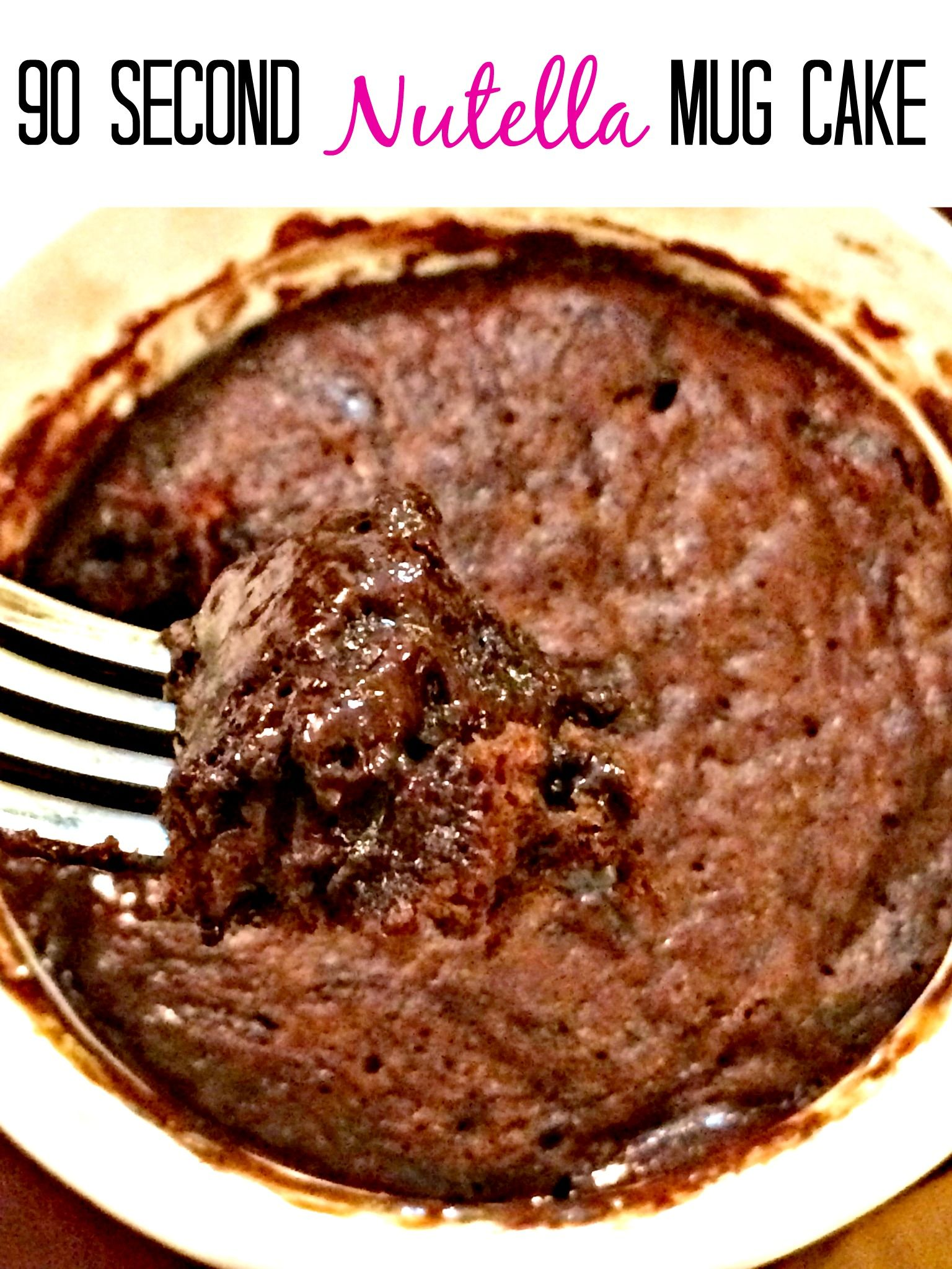 Ooey gooey Nutella mug cake microwaved and done in 90 seconds.  OMG.