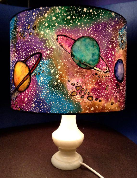 Space Shade Hand Silk Painted Lamp Shade 30cm Diameter