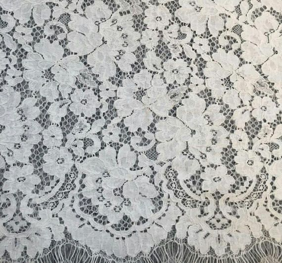 Designer embroidery lace fabric in 14 color on mesh with scalloped borders