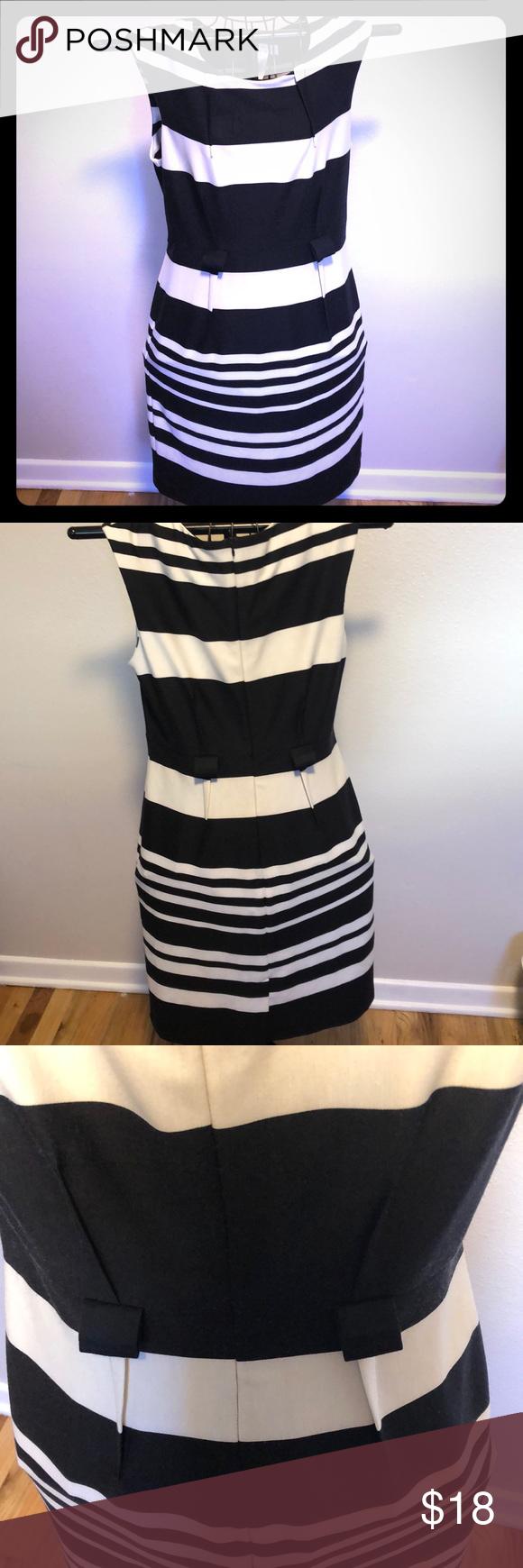 Emma Michele Black White Striped Poly Dress S 12 Stretchy And Striped Emma And Michele Black And White Dre Poly Dress Black White Stripes Black N White Dress [ 1740 x 580 Pixel ]