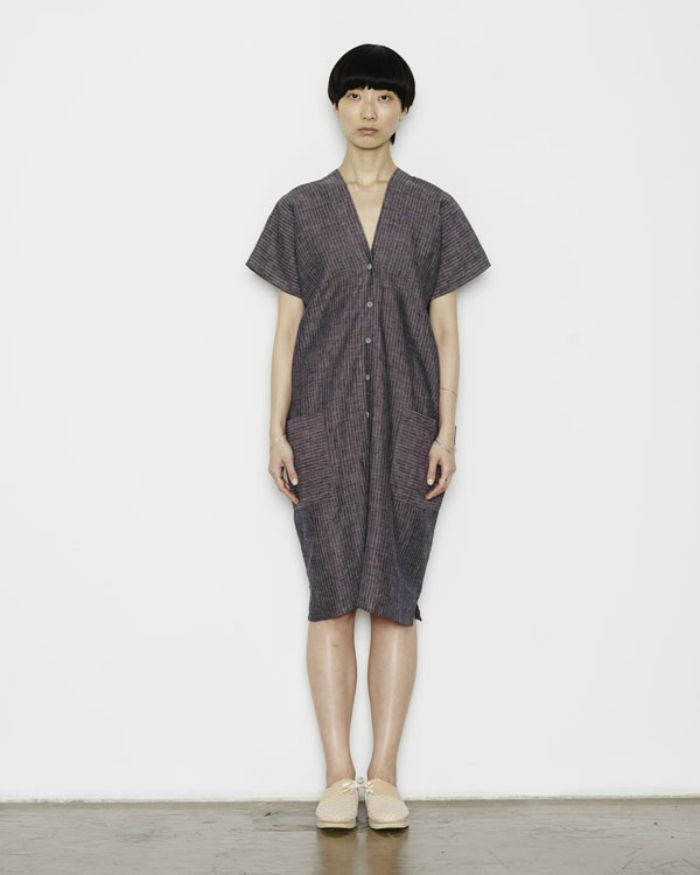 Made Using Zero Waste Pattern Making Methods Can Be Worn As Is Or Cinched With Detachable Belt Fabric Striped Ma Womens Kimono Kimono Dress Striped Linen