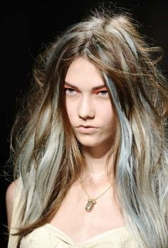Hair pastel blue highlights google search hair pinterest not this expression on the face but i do love the hair long wavy brown middle parted hair with pastel blue and grey highlights pmusecretfo Images