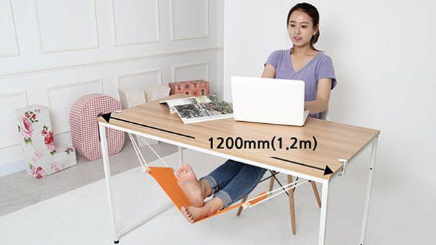 An Under Desk Hammock For Your Feet Is The Best Office Upgrade Desk Foot Rest Adjustable Desk