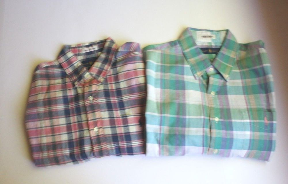 48869c66 Polo Ralph Lauren Madras Woven Short Sleeve Plaid Checks Shirt Pink Blue  (L) NEW