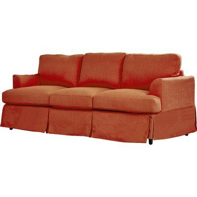 Three Posts Spring Grove Replacement Sofa Slipcover Upholstery: Sunrise Red  Linen, Skirted: Yes