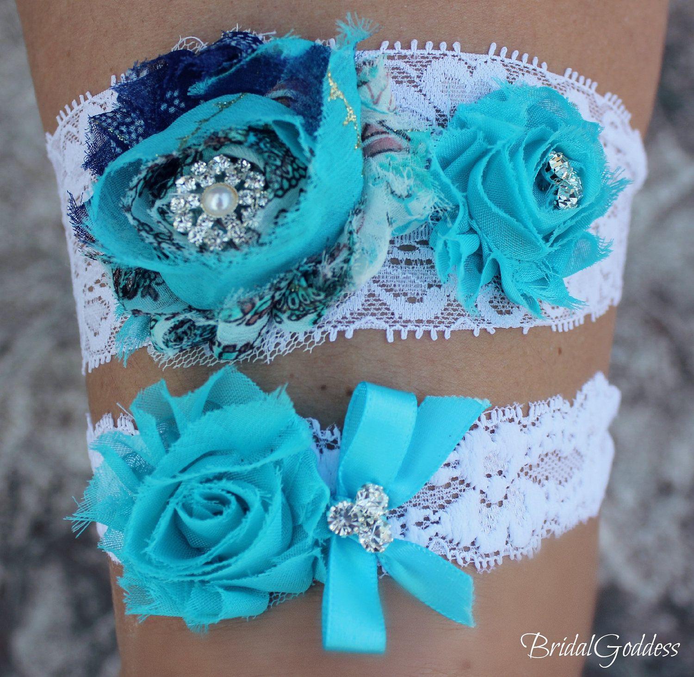 SALE -Bridal Garter Set - Toss Garter - Bridal Garter -Wedding - Bride - Bridal Accessories-Something Blue-Blue Garter. $20.00, via Etsy.