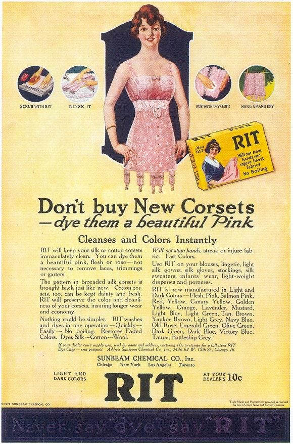 1919 for Rit-dye, Don't get rid of those old corsets. Just dye them pink!