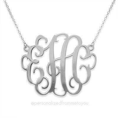 2 inch Classic Script Monogram Necklace in Sterling Silver