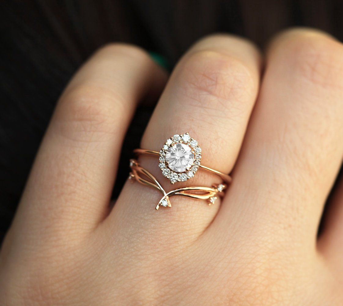 Eva 0 5 Carat Diamond Ring With Halo Diamond Setting Half Carat Diamond Ring Rose Gold Diamond Ring Engagement Diamond Wedding Bands