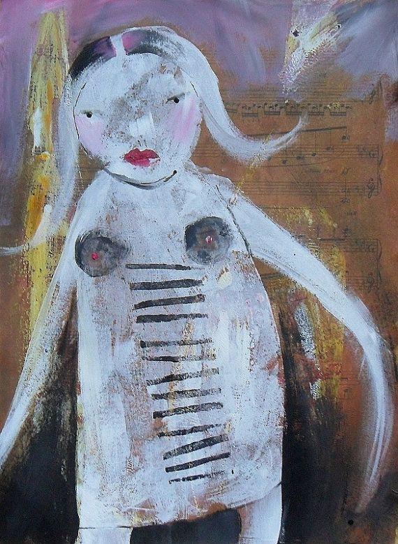 Contemporary Folk Art Brut Painting Figurative door ArtBeatriceM, £35.00
