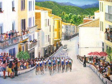 "Saatchi Online Artist David  K Collins; Painting, ""Cycle Race"" #art"
