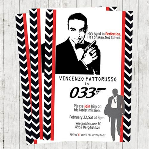 Printable 007 James Bond International Man of Spy Personalized – James Bond Party Invitations