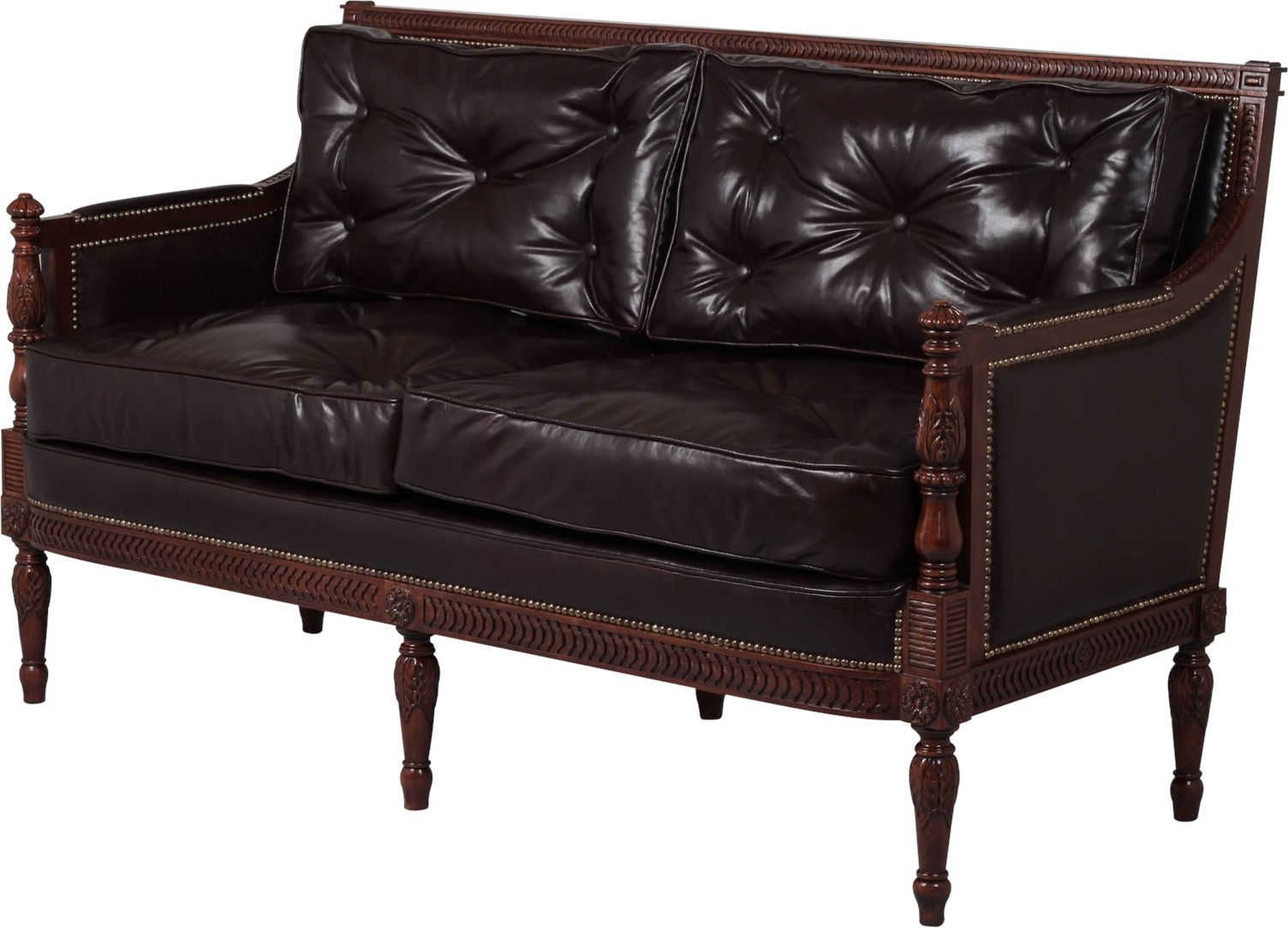 Scarborough House Italian Leather Sofa Tufted, Handcrafted Mahogany Brass  2Seat #Furniture #BrassNails #