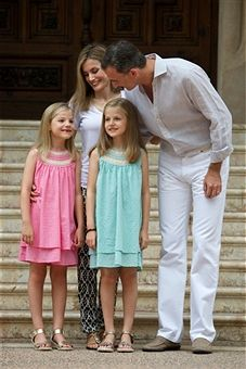 King Felipe VI of Spain, Queen Letizia of Spain and their daugthers Princess Leonor of Spain (R) and Princess Sofia of Spain (L) pose for the photographers at the Marivent Palace on August 5, 2014 in Palma de Mallorca, Spain.