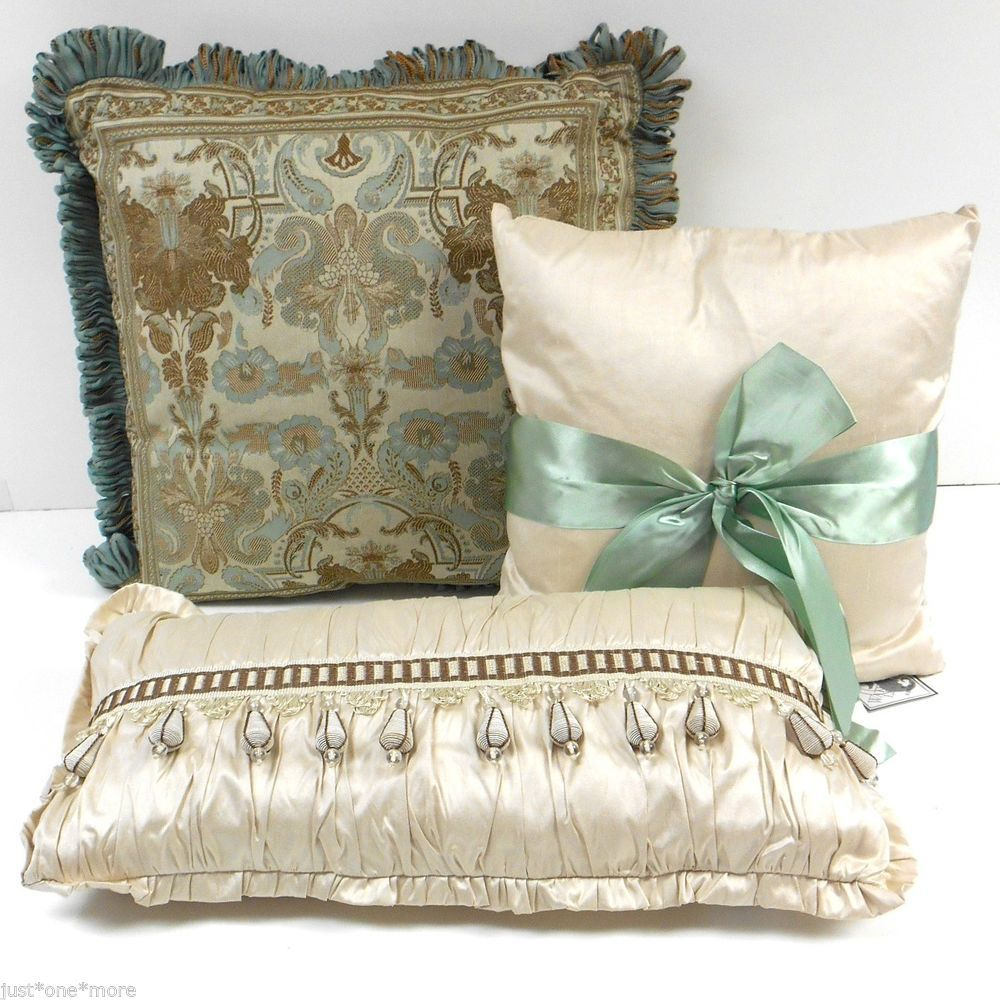 Decorative Pillow Set Waterford Concerto Decorative Pillow Set Of Three Nwt Silk Brown