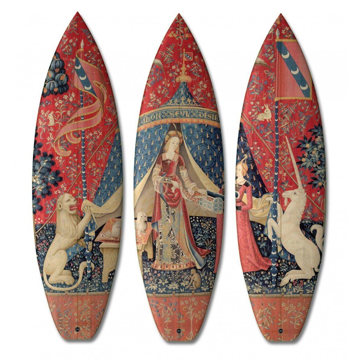 Boom Art Where Sporting Goods Meet Renaissance Art Shown Lady And The Unicorn Surfboards Con Imagenes Arte Clasico Arte De Tablas De Surf Arte Renacentista