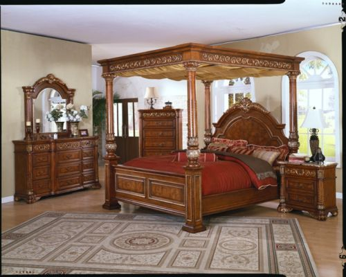 king canopy bed master bedroom set marble top furniture