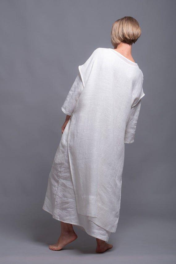 Robe tunique en lin Sergio blanche, Viking mariage robe blanche Costume Style médiéval Festival vêtements, linge de grande robe dété naturel vêtements