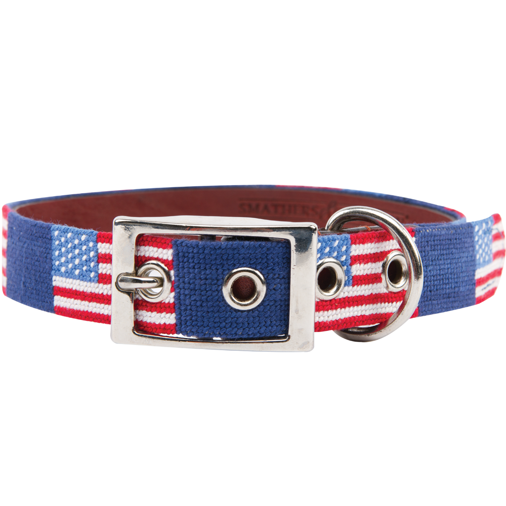 American Flag Needlepoint Dog Collar