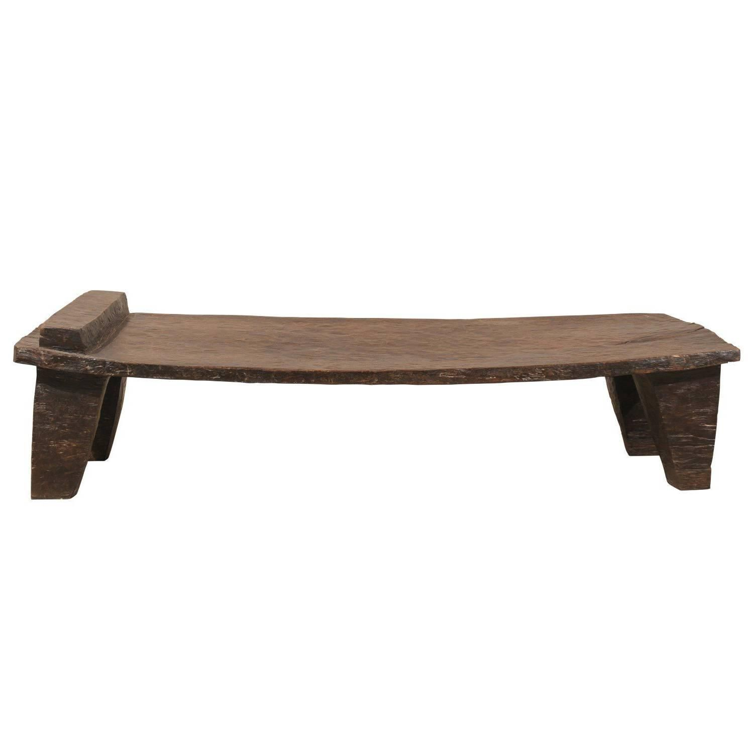 Ethnic / Rustic Primitive Naga Wood Indian Coffee Table From Tribes Of  Nagaland