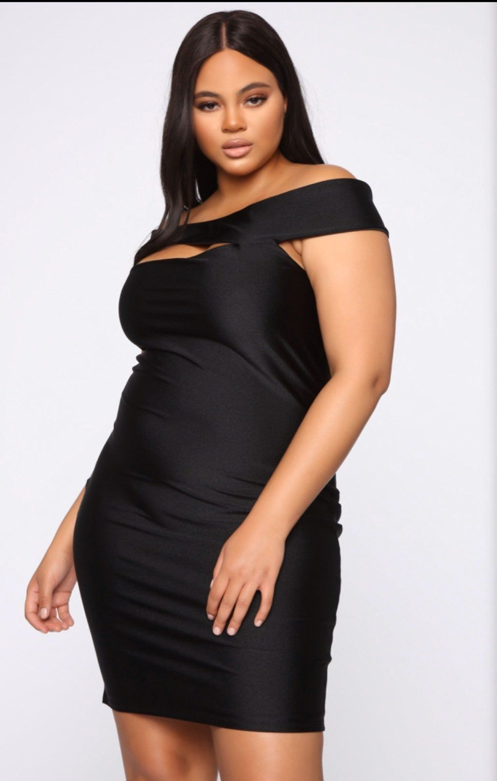 Fashion nova curve dress color Black size1X never