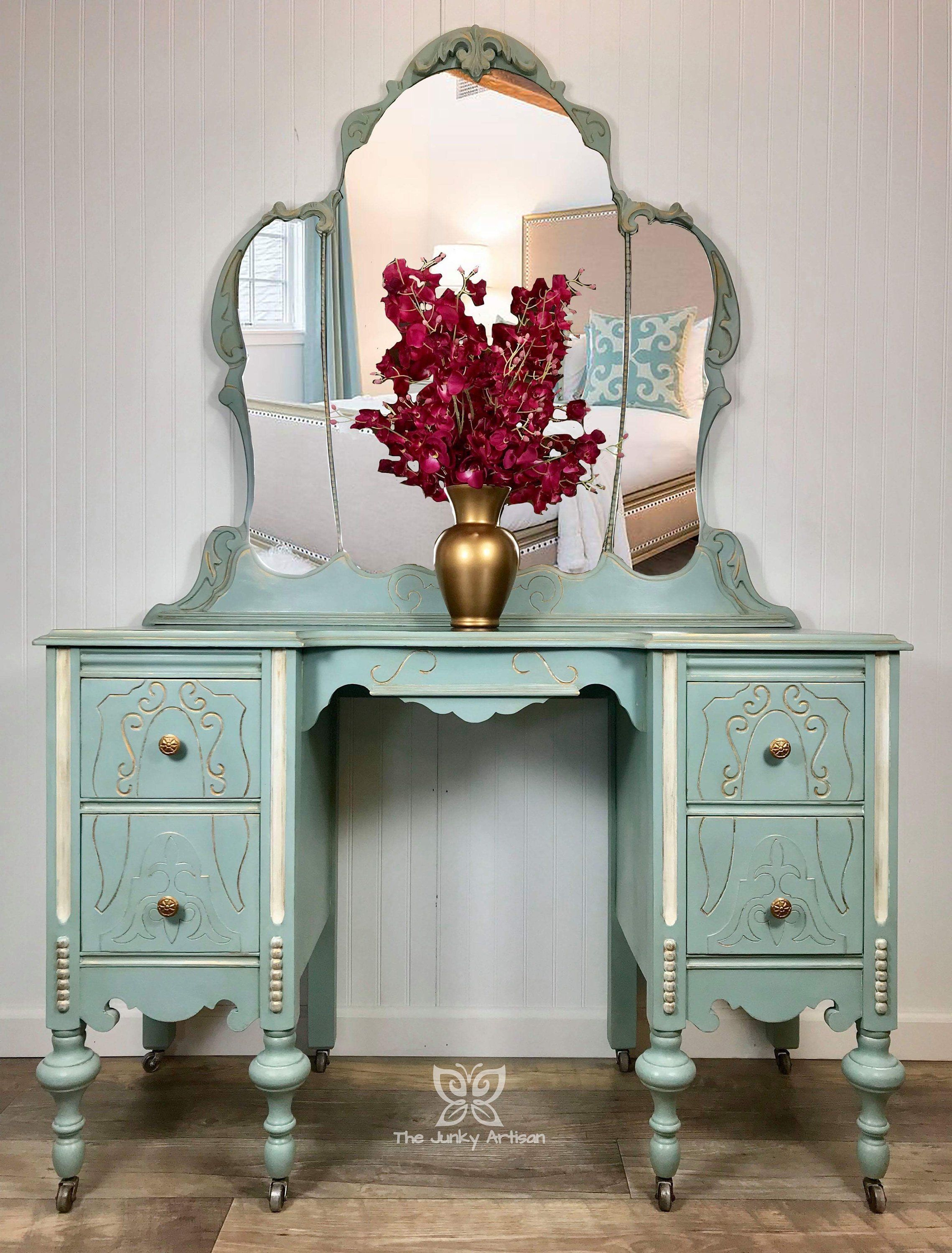 Green Antique French Style Sideboard   Shabby Chic Dining