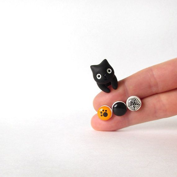 Black cat and three halloween stud earrings - polymer clay jewelry - hand painted stud earrings - fake plug