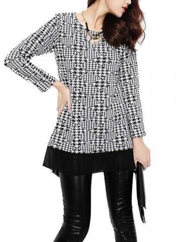 Causal Houndstooth Print Mesh Stitching Loose-Fitting Shirt