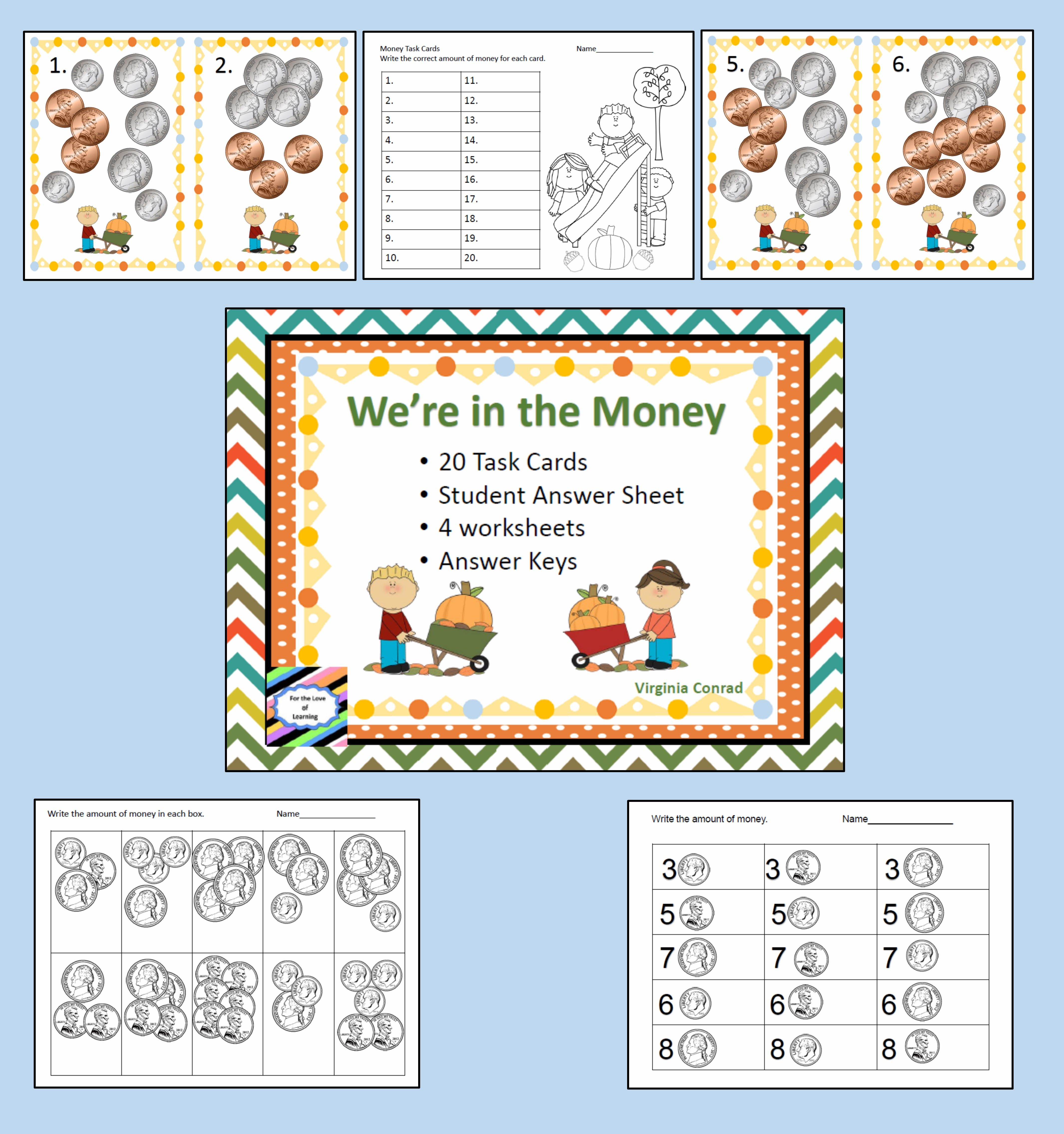 Money Task Cards And Worksheets Fall Theme With Images