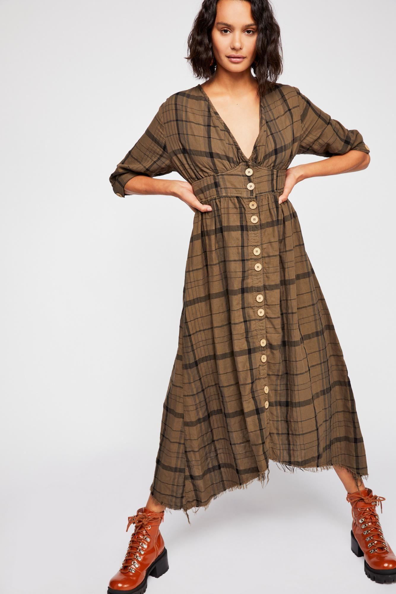 4baf44dab6 Lyst - Free People Laura Plaid Midi Dress By Cp Shades in Brown