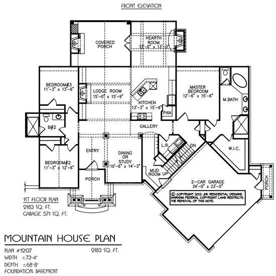 Mountain House Main Floor Natural Element Homes Mountain House Plans Floor Plans