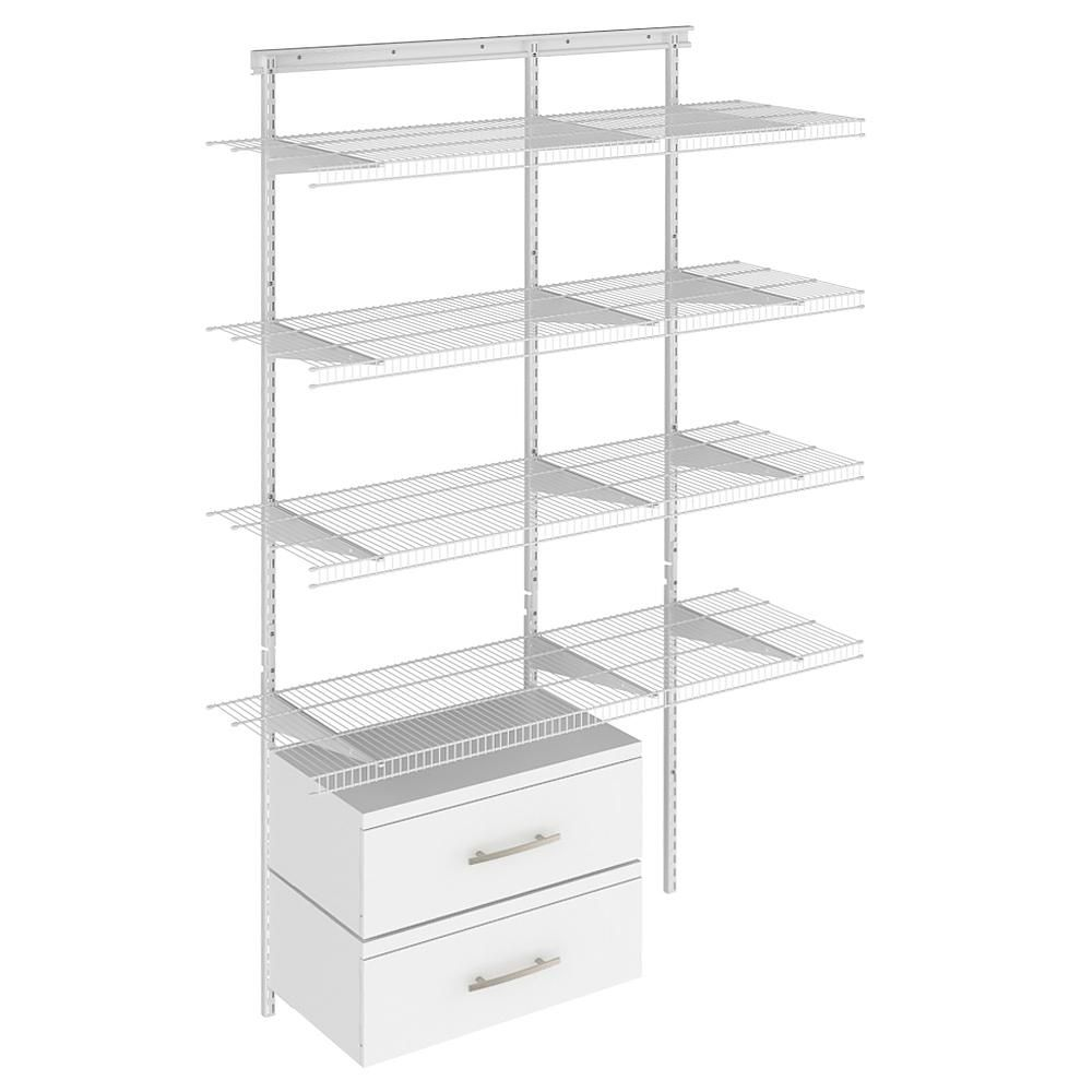 Closetmaid Shelftrack 16 75 In D X 48 In W X 84 In H White Wire Adjustable Pantry Closet Kit With Laminate Drawers 17863 The Home Depot Wire Closet Systems Closet Kits Closet Organizing Systems