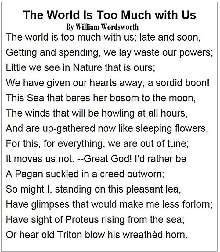 a critique of the world is too much with us by william wordsworth The world is too much with us by william wordsworth: summary and analysis the world is too much with us is a sonnet by william wordsworth is about the loss of nature caused by humankind.