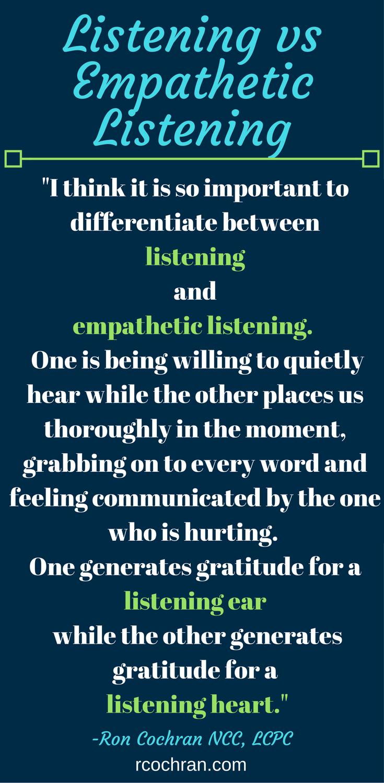 Listening vs Empathetic Listening. Ron Cochran Marriage