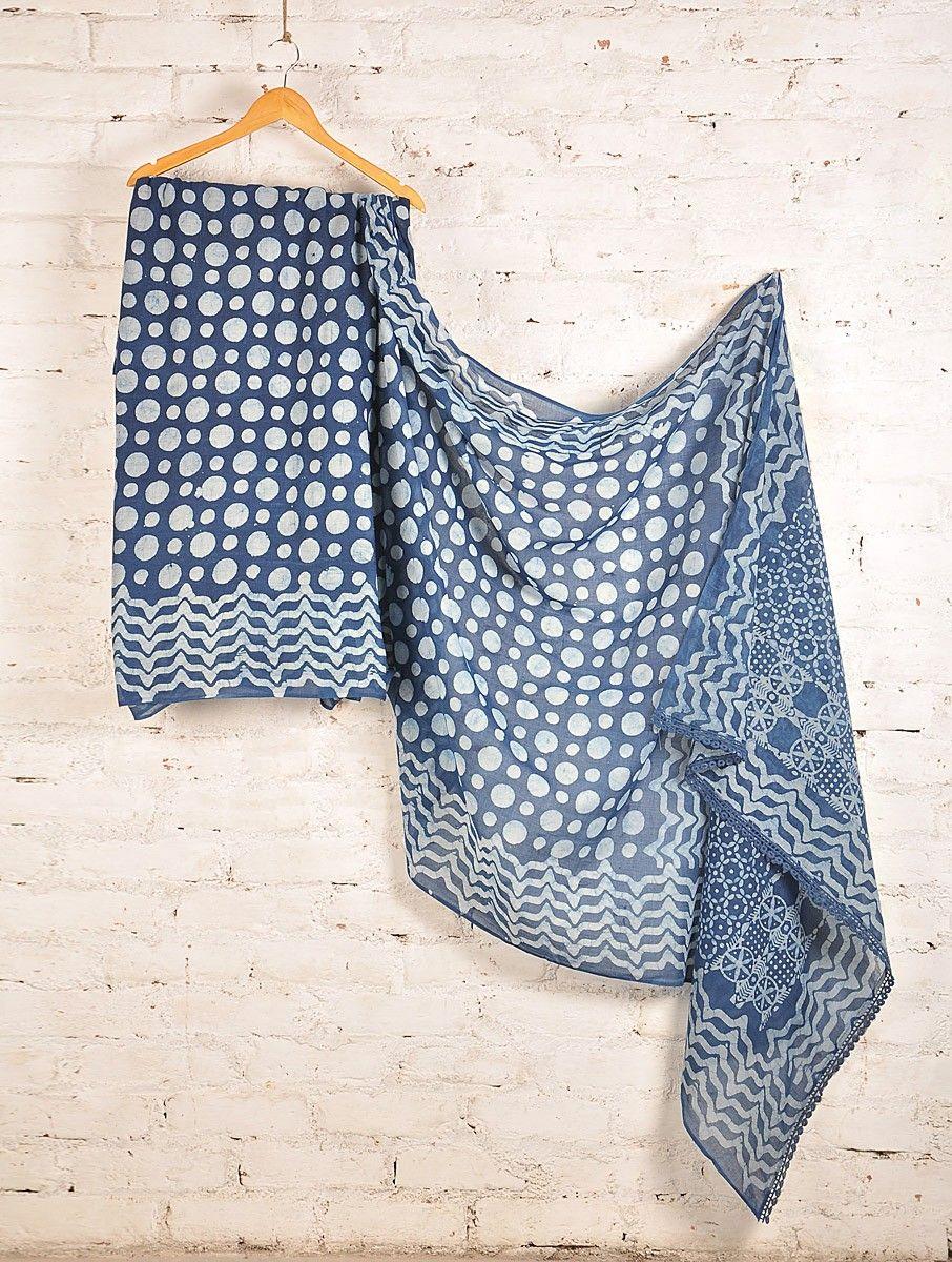 Buy Indigo Ivory Batik Cotton Saree Online at Jaypore.com
