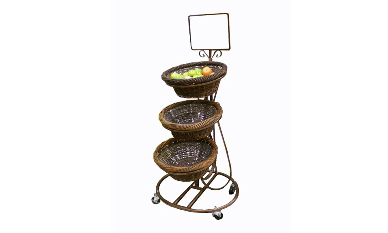 Display stand mobile merchandiser wicker baskets fruit