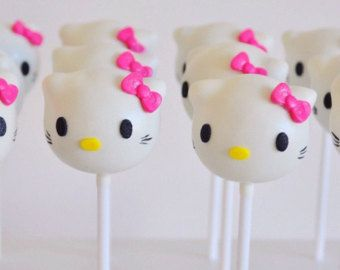 Hello kitty cake popsBirthday cake popsparty cakepopsgirl party